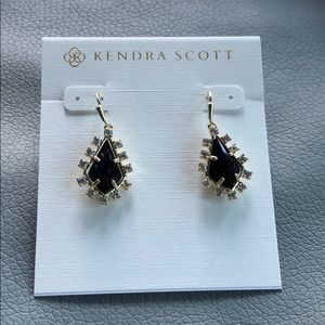 Kendra Scott Juniper gold earrings navy blue